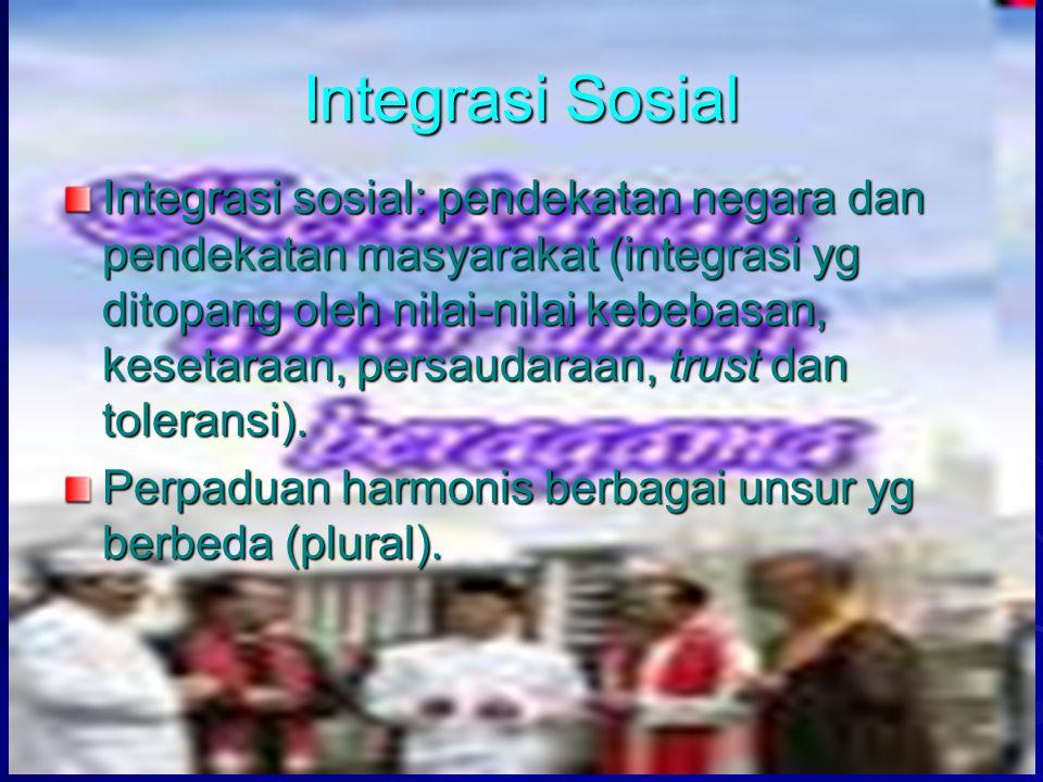 myfile:pendpemb.pnf 6 Integrasi Sosial Integrasi sosial: pendekatan negara dan pendekatan masyarakat (integrasi yg ditopang oleh nilai-nilai kebebasan, kesetaraan, persaudaraan, trust dan toleransi).