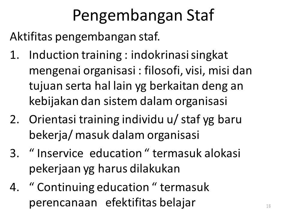 Pengembangan Staf Aktifitas pengembangan staf. 1.Induction training : indokrinasi singkat mengenai organisasi : filosofi, visi, misi dan tujuan serta