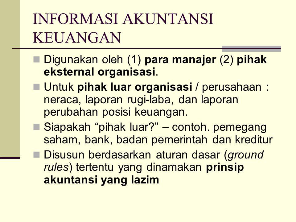 INFORMASI AKUNTANSI KEUANGAN Digunakan oleh (1) para manajer (2) pihak eksternal organisasi. Untuk pihak luar organisasi / perusahaan : neraca, lapora
