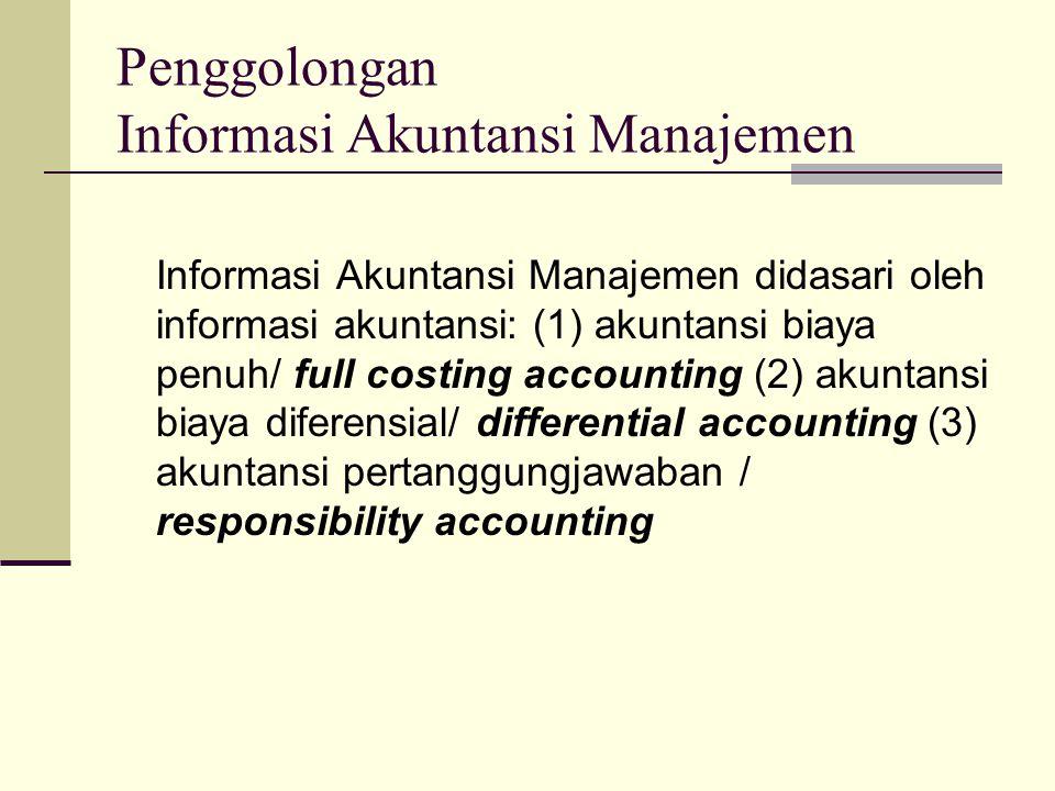 Penggolongan Informasi Akuntansi Manajemen Informasi Akuntansi Manajemen didasari oleh informasi akuntansi: (1) akuntansi biaya penuh/ full costing ac