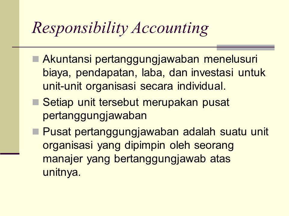 Responsibility Accounting Akuntansi pertanggungjawaban menelusuri biaya, pendapatan, laba, dan investasi untuk unit-unit organisasi secara individual.