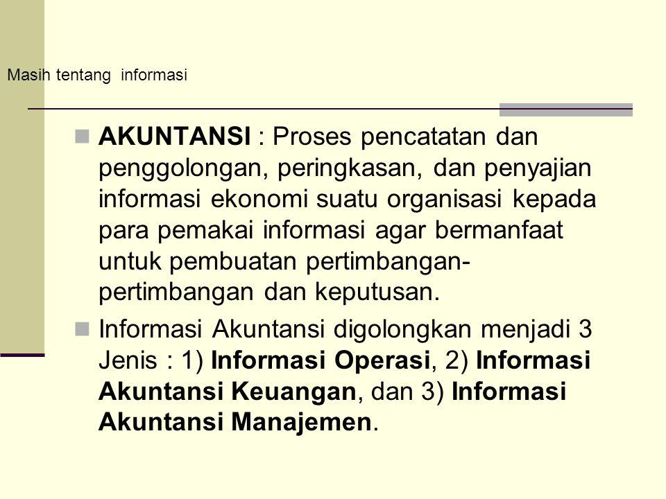 AKUNTANSI : Proses pencatatan dan penggolongan, peringkasan, dan penyajian informasi ekonomi suatu organisasi kepada para pemakai informasi agar berma