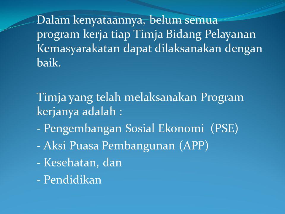 Dalam kenyataannya, belum semua program kerja tiap Timja Bidang Pelayanan Kemasyarakatan dapat dilaksanakan dengan baik. Timja yang telah melaksanakan