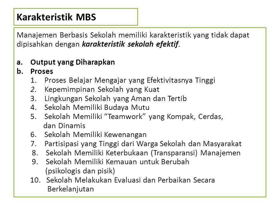 Karakteristik MBS Manajemen Berbasis Sekolah memiliki karakteristik yang tidak dapat dipisahkan dengan karakteristik sekolah efektif. a.Output yang Di