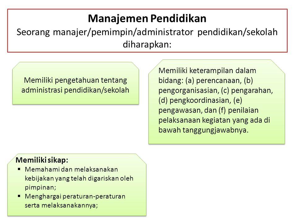 Manajemen Pendidikan Seorang manajer/pemimpin/administrator pendidikan/sekolah diharapkan: Memiliki pengetahuan tentang administrasi pendidikan/sekola