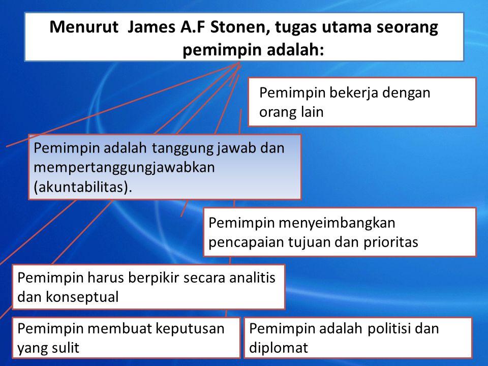 Menurut James A.F Stonen, tugas utama seorang pemimpin adalah: Pemimpin bekerja dengan orang lain Pemimpin adalah politisi dan diplomat Pemimpin membu