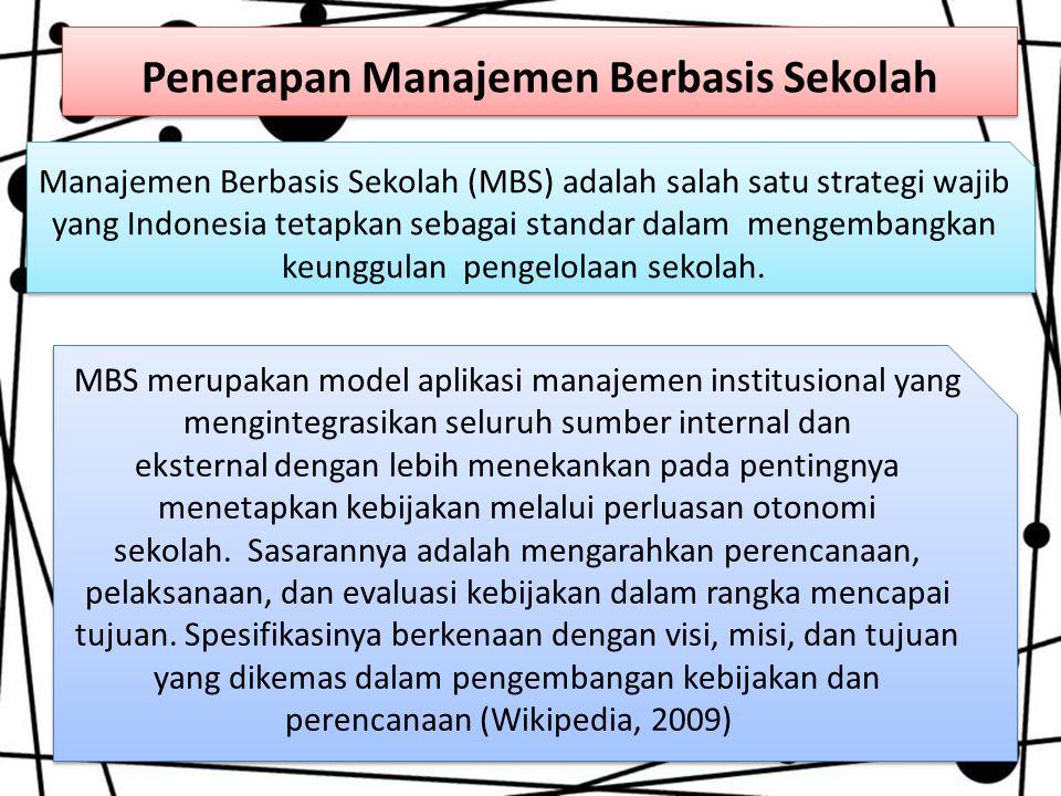 Penerapan Manajemen Berbasis Sekolah Manajemen Berbasis Sekolah (MBS) adalah salah satu strategi wajib yang Indonesia tetapkan sebagai standar dalam m