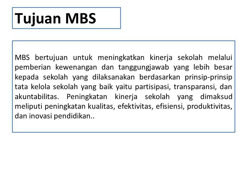 Tujuan MBS MBS bertujuan untuk meningkatkan kinerja sekolah melalui pemberian kewenangan dan tanggungjawab yang lebih besar kepada sekolah yang dilaks