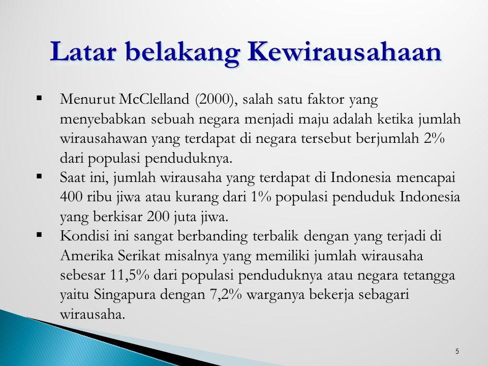 5 Latar belakang Kewirausahaan  Menurut McClelland (2000), salah satu faktor yang menyebabkan sebuah negara menjadi maju adalah ketika jumlah wirausa