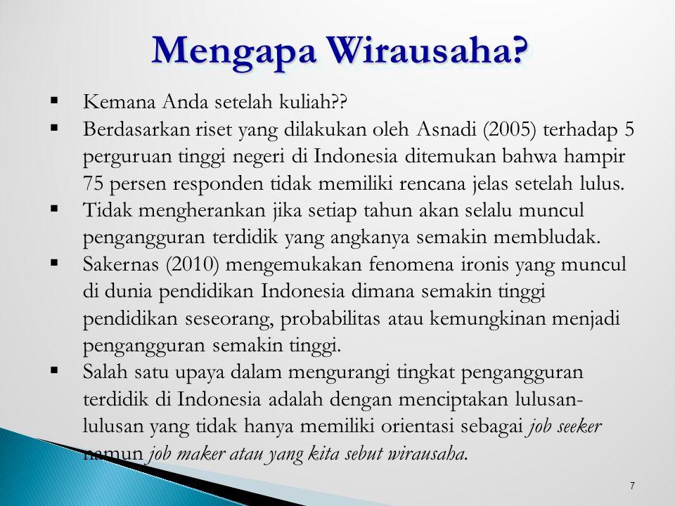 7 Mengapa Wirausaha?  Kemana Anda setelah kuliah??  Berdasarkan riset yang dilakukan oleh Asnadi (2005) terhadap 5 perguruan tinggi negeri di Indone