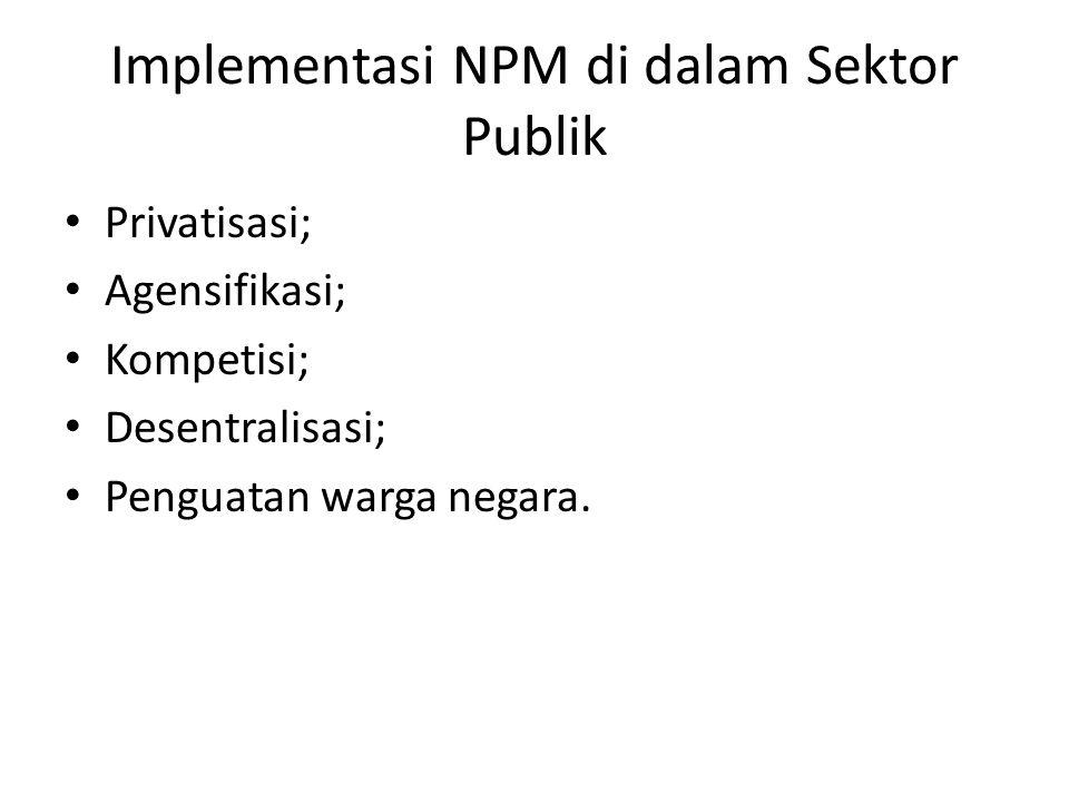 Implementasi NPM di dalam Sektor Publik Privatisasi; Agensifikasi; Kompetisi; Desentralisasi; Penguatan warga negara.