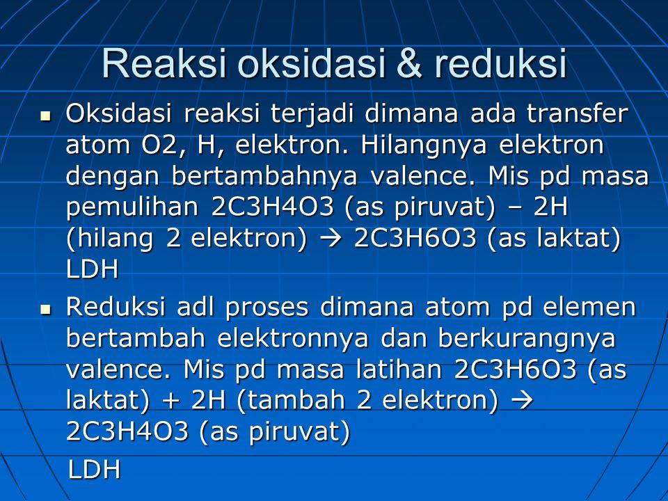 Reaksi oksidasi & reduksi Oksidasi reaksi terjadi dimana ada transfer atom O2, H, elektron.