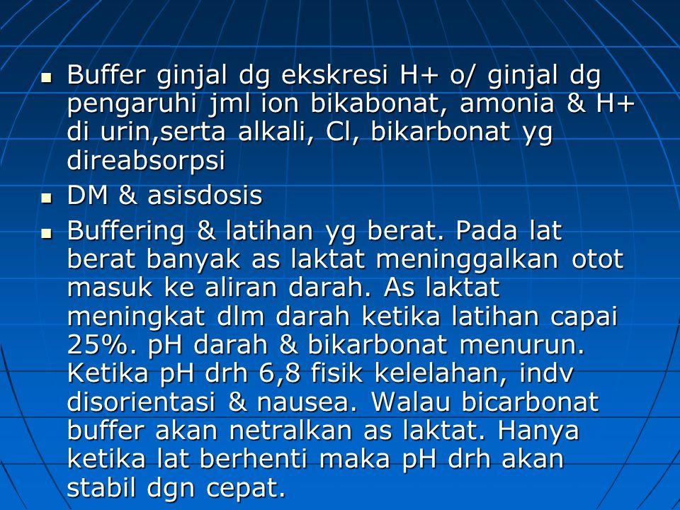 Buffer ginjal dg ekskresi H+ o/ ginjal dg pengaruhi jml ion bikabonat, amonia & H+ di urin,serta alkali, Cl, bikarbonat yg direabsorpsi Buffer ginjal dg ekskresi H+ o/ ginjal dg pengaruhi jml ion bikabonat, amonia & H+ di urin,serta alkali, Cl, bikarbonat yg direabsorpsi DM & asisdosis DM & asisdosis Buffering & latihan yg berat.