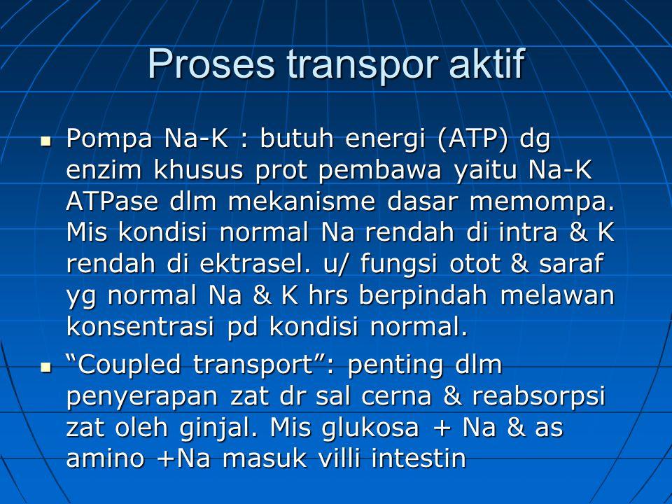 Proses transpor aktif Pompa Na-K : butuh energi (ATP) dg enzim khusus prot pembawa yaitu Na-K ATPase dlm mekanisme dasar memompa.