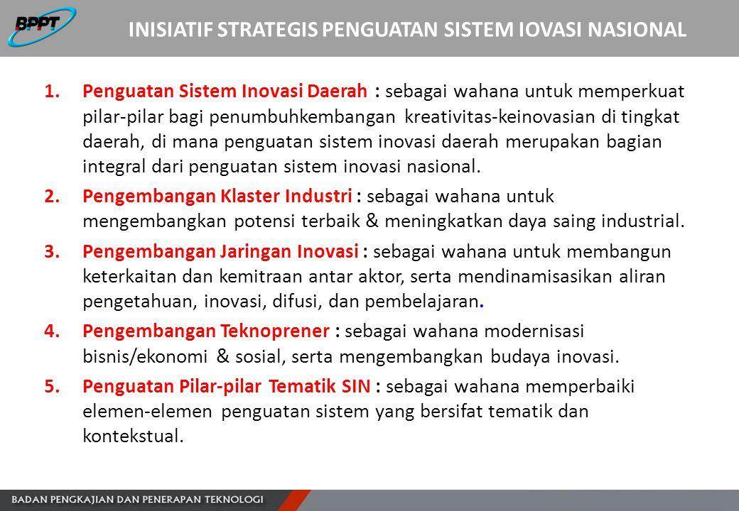 INISIATIF STRATEGIS PENGUATAN SISTEM IOVASI NASIONAL 1.Penguatan Sistem Inovasi Daerah : sebagai wahana untuk memperkuat pilar-pilar bagi penumbuhkemb
