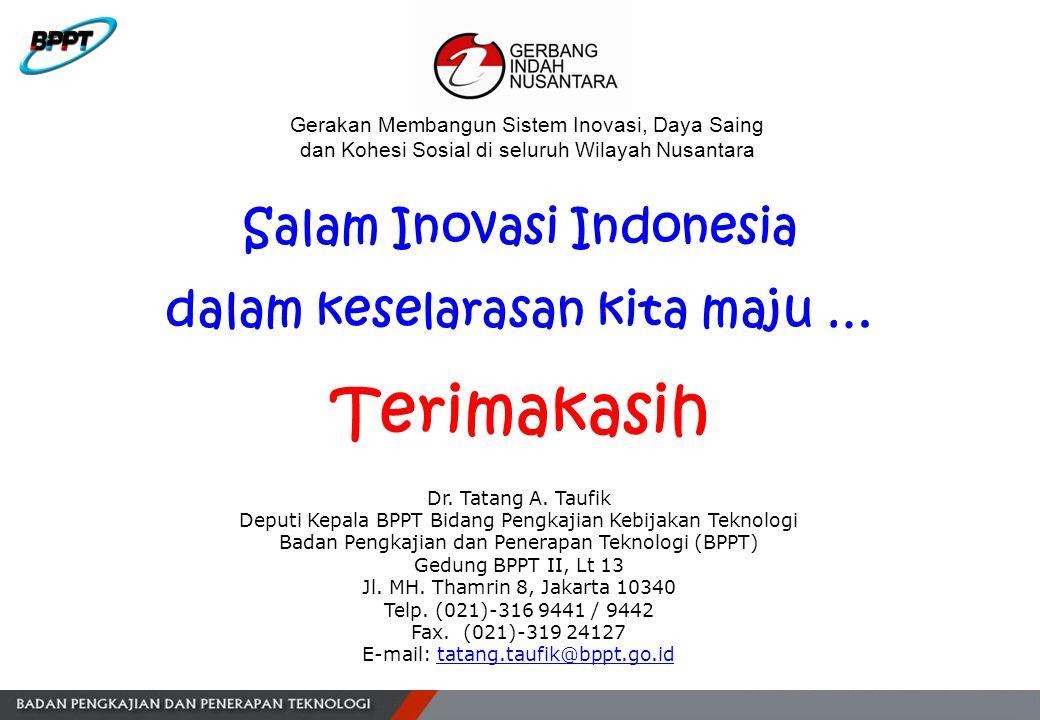 Salam Inovasi Indonesia dalam keselarasan kita maju … Terimakasih Dr. Tatang A. Taufik Deputi Kepala BPPT Bidang Pengkajian Kebijakan Teknologi Badan