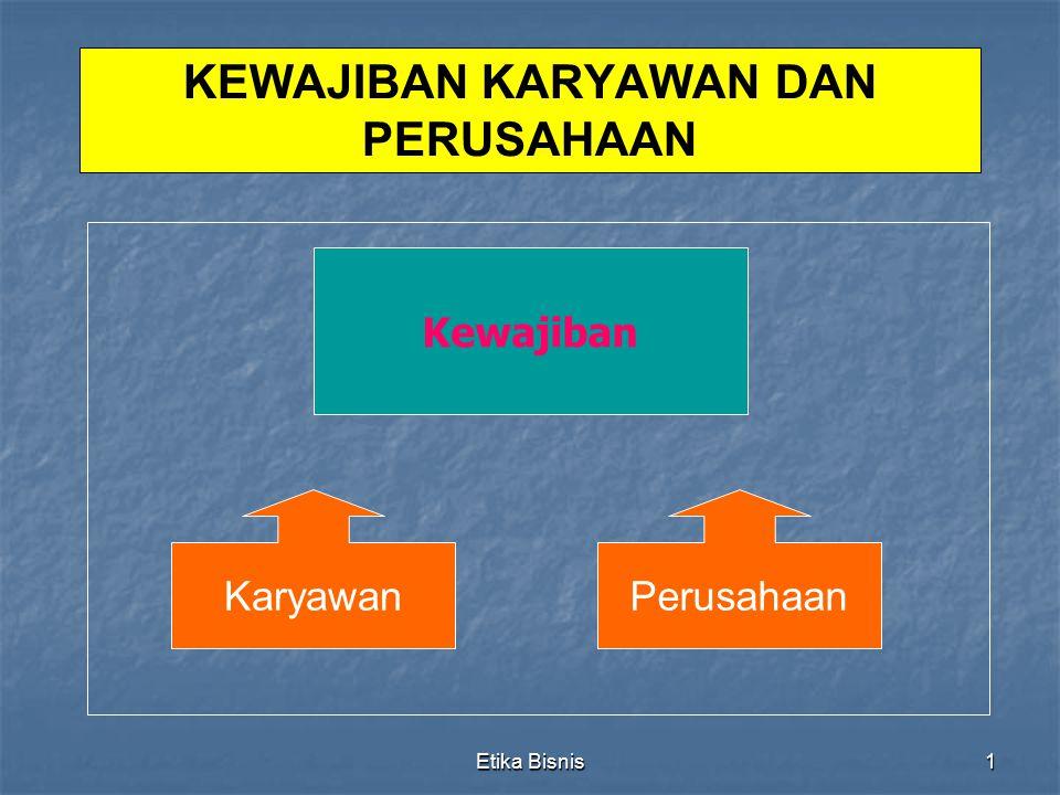 Etika Bisnis2 Kewajiban Karyawan 1.Tiga Kewajiban Karyawan a.