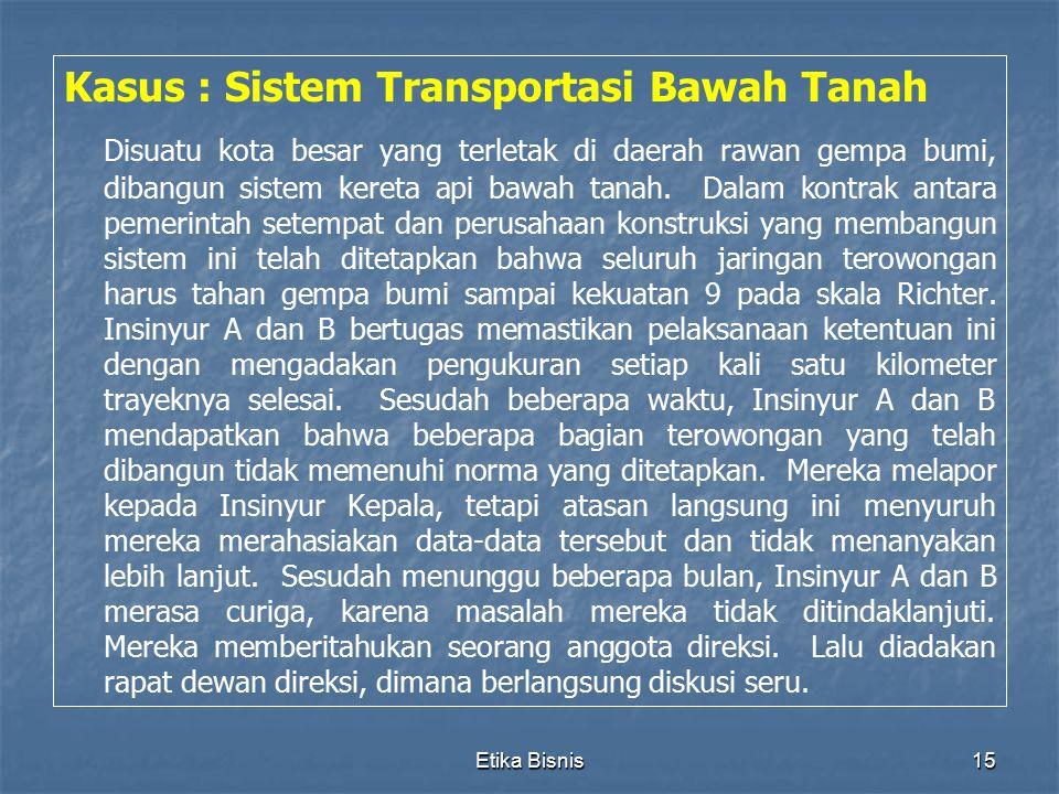 Etika Bisnis15 Kasus : Sistem Transportasi Bawah Tanah Disuatu kota besar yang terletak di daerah rawan gempa bumi, dibangun sistem kereta api bawah t