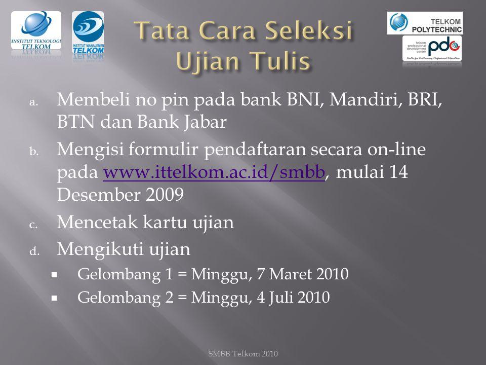 a.Membeli no pin pada bank BNI, Mandiri, BRI, BTN dan Bank Jabar b.