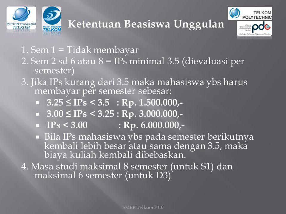 1.Sem 1 = Tidak membayar 2. Sem 2 sd 6 atau 8 = IPs minimal 3.5 (dievaluasi per semester) 3.