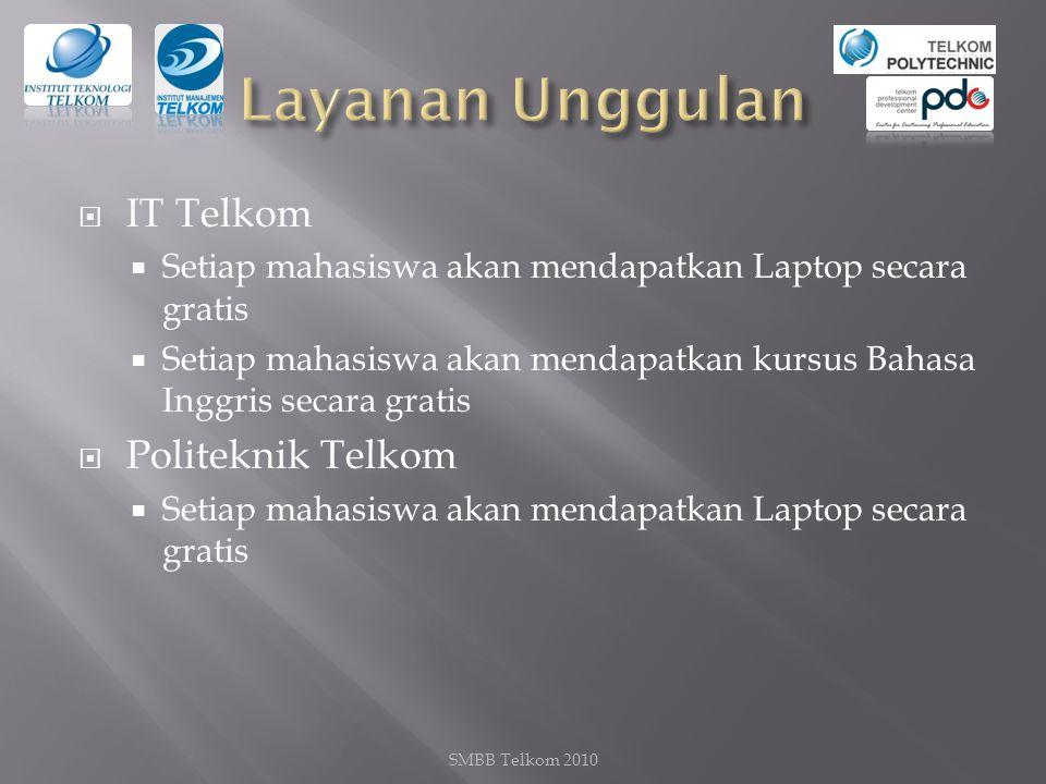  IT Telkom  Setiap mahasiswa akan mendapatkan Laptop secara gratis  Setiap mahasiswa akan mendapatkan kursus Bahasa Inggris secara gratis  Politeknik Telkom  Setiap mahasiswa akan mendapatkan Laptop secara gratis SMBB Telkom 2010