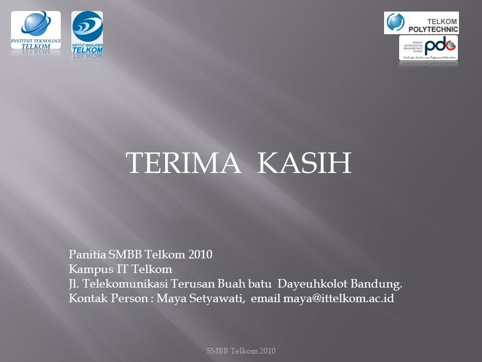 SMBB Telkom 2010 TERIMA KASIH Panitia SMBB Telkom 2010 Kampus IT Telkom Jl.