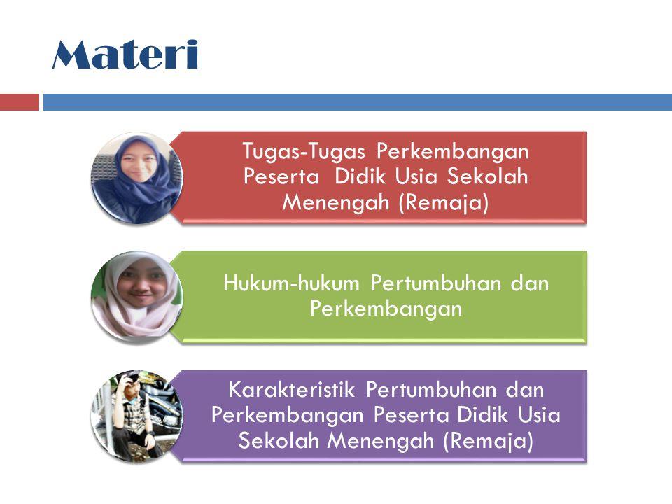Materi Tugas-Tugas Perkembangan Peserta Didik Usia Sekolah Menengah (Remaja) Hukum-hukum Pertumbuhan dan Perkembangan Karakteristik Pertumbuhan dan Pe