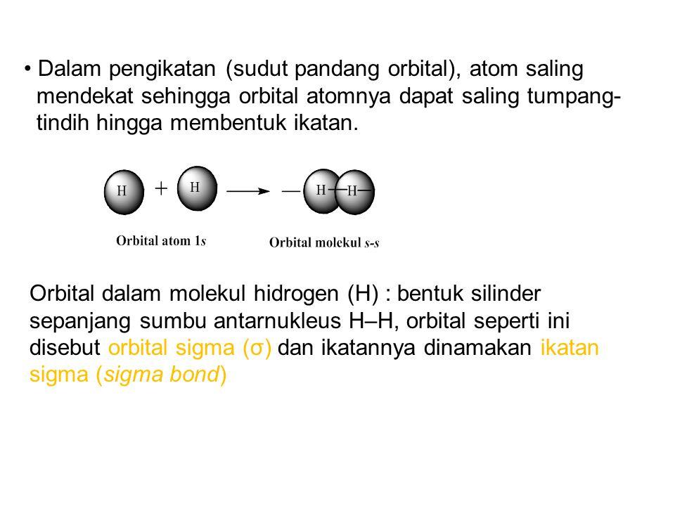 Dalam pengikatan (sudut pandang orbital), atom saling mendekat sehingga orbital atomnya dapat saling tumpang- tindih hingga membentuk ikatan.