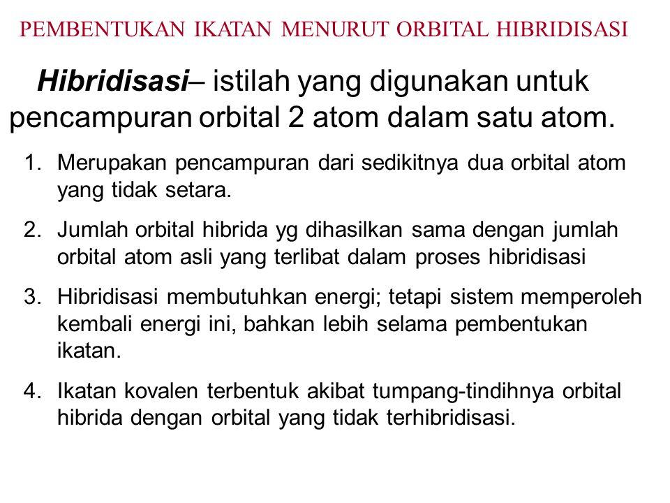 Hibridisasi– istilah yang digunakan untuk pencampuran orbital 2 atom dalam satu atom.