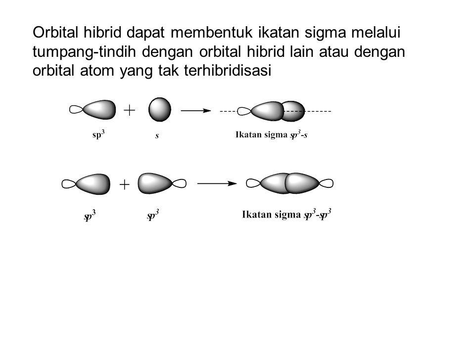 Orbital hibrid dapat membentuk ikatan sigma melalui tumpang-tindih dengan orbital hibrid lain atau dengan orbital atom yang tak terhibridisasi