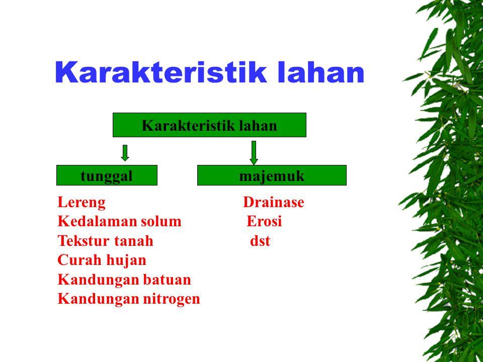 Karakteristik lahan  Karakteristik lahan: adalah sifat-sifat lahan yang dapat diukur/ditetapkan atau diduga  Karakteristik lahan tunggal : adalah sifat-sifat lahan yang didalam penetapannya tidak banyak dipengaruhi/tergantung pada sifat lahan yang lain
