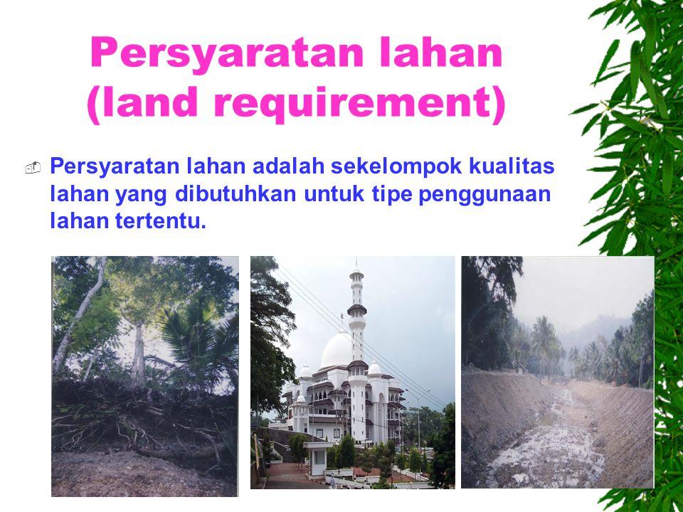 Karakteristik lahan hutan  Hutan  Lereng > 30%  Kedalaman solum dalam  Permukaan air tanah dangkal  Kesuburan tanah sedang  Bahaya erosi tinggi  Iklim basah
