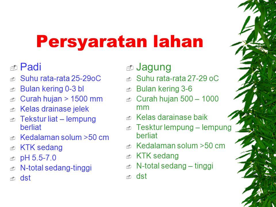 Persyaratan lahan (land requirement)  Persyaratan lahan adalah sekelompok kualitas lahan yang dibutuhkan untuk tipe penggunaan lahan tertentu.
