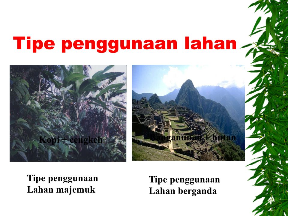Tipe penggunaan lahan  Tipe penggunaan lahan berganda (multiple land utilization) : penggunaan lahan lebih dari satu tipe penggunaan lahan yang waktu