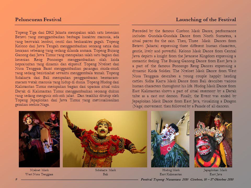 Topeng Tiga dari DKI Jakarta merupakan salah satu kesenian Betawi yang menggambarkan berbagai karakter manusia, ada yang berwatak lembut, centil dan b