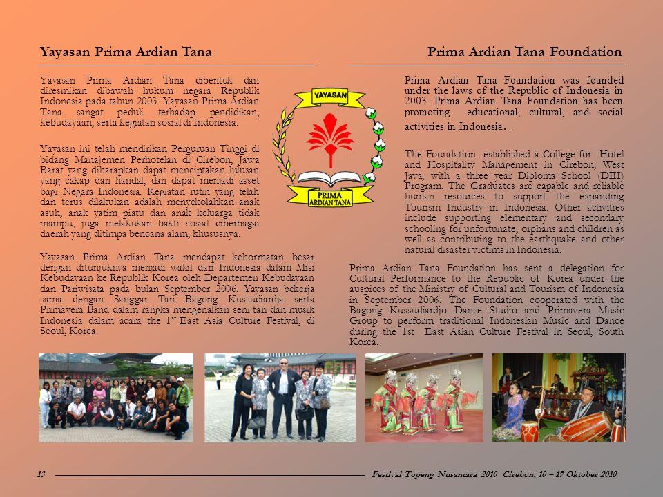 Yayasan Prima Ardian Tana dibentuk dan diresmikan dibawah hukum negara Republik Indonesia pada tahun 2003. Yayasan Prima Ardian Tana sangat peduli ter