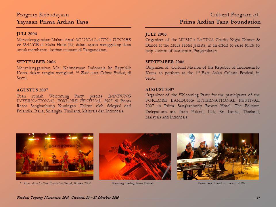 JULI 2006 Menyelenggarakan Malam Amal MUSICA LATINA DINNER & DANCE di Mulia Hotel Jkt, dalam upaya menggalang dana untuk membantu korban tsunami di Pa