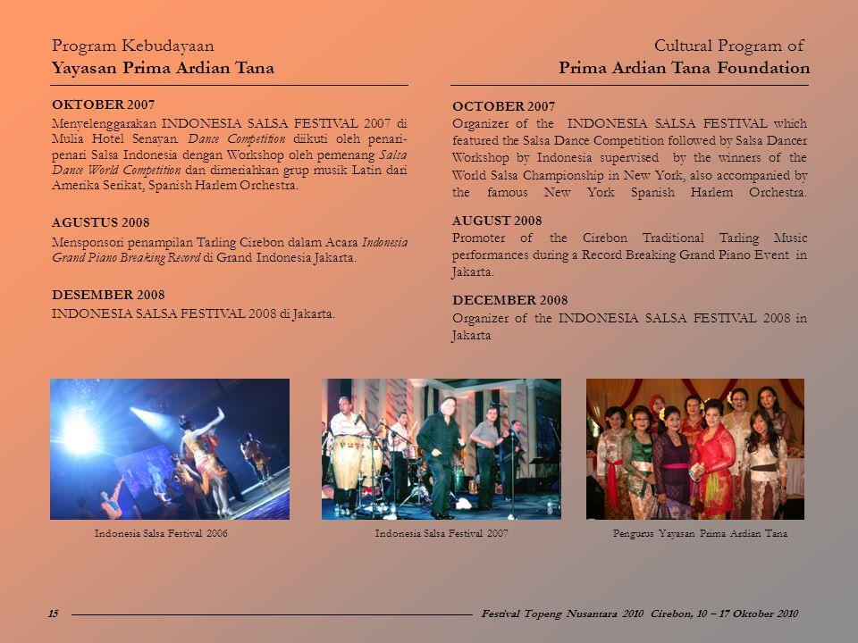 OKTOBER 2007 Menyelenggarakan INDONESIA SALSA FESTIVAL 2007 di Mulia Hotel Senayan. Dance Competition diikuti oleh penari- penari Salsa Indonesia deng