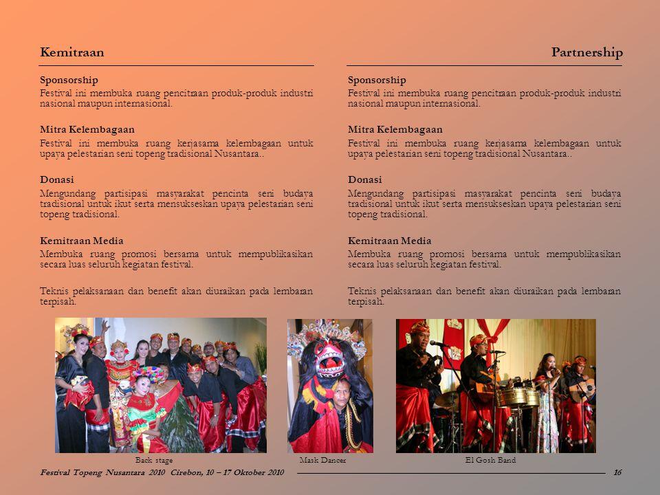Sponsorship Festival ini membuka ruang pencitraan produk-produk industri nasional maupun internasional. Mitra Kelembagaan Festival ini membuka ruang k