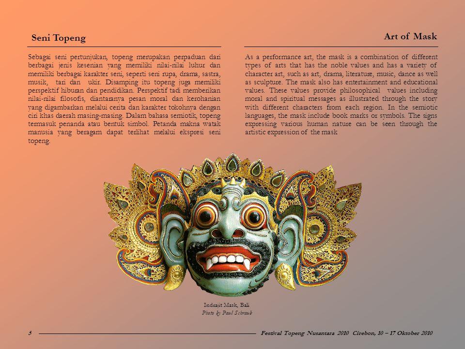 Festival Topeng Nusantara 2010 yang akan diselenggarakan pada minggu kedua Oktober 2010 dimaksudkan sebagai peristiwa budaya yang bertujuan mengangkat seni topeng tradisi ke pentas Nasional dengan pusat kegiatan di kota Cirebon.