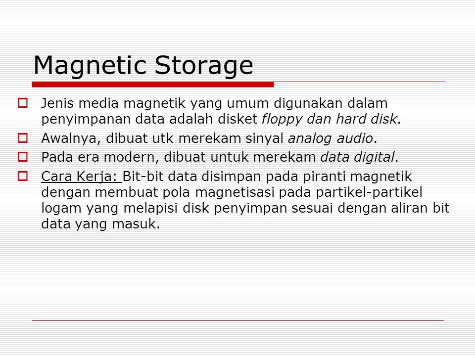 Magnetic Storage  Jenis media magnetik yang umum digunakan dalam penyimpanan data adalah disket floppy dan hard disk.