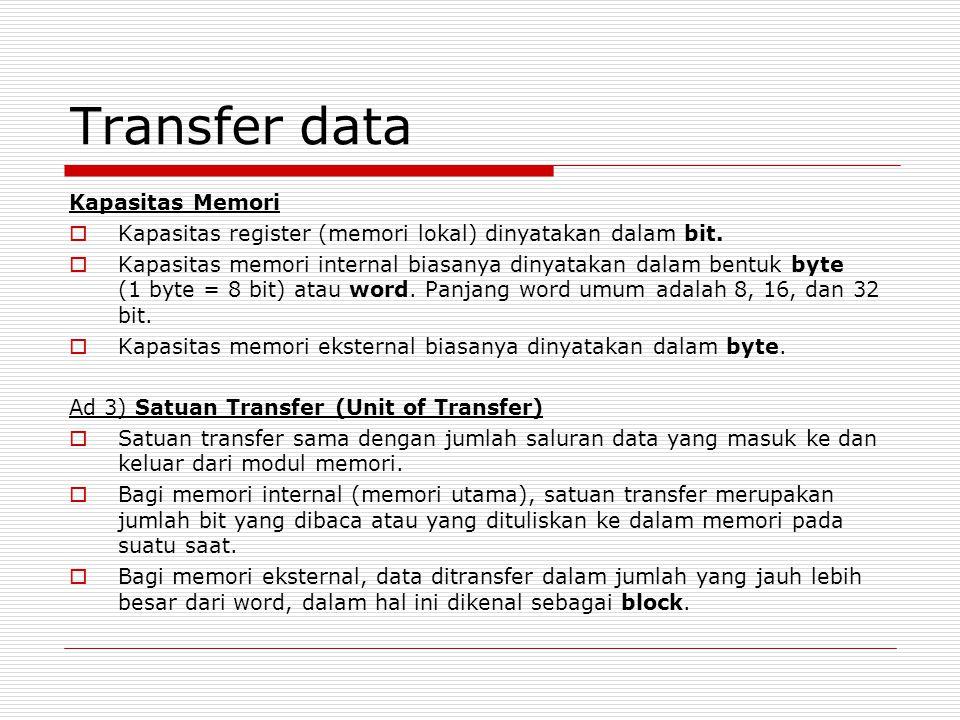 Transfer data Kapasitas Memori  Kapasitas register (memori lokal) dinyatakan dalam bit.