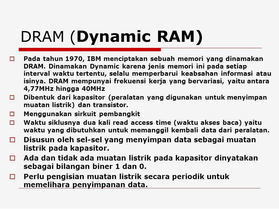DRAM ( Dynamic RAM)  Pada tahun 1970, IBM menciptakan sebuah memori yang dinamakan DRAM.