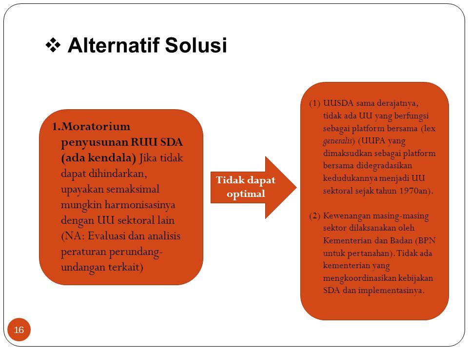  Alternatif Solusi (1)UUSDA sama derajatnya, tidak ada UU yang berfungsi sebagai platform bersama (lex generalis) (UUPA yang dimaksudkan sebagai plat