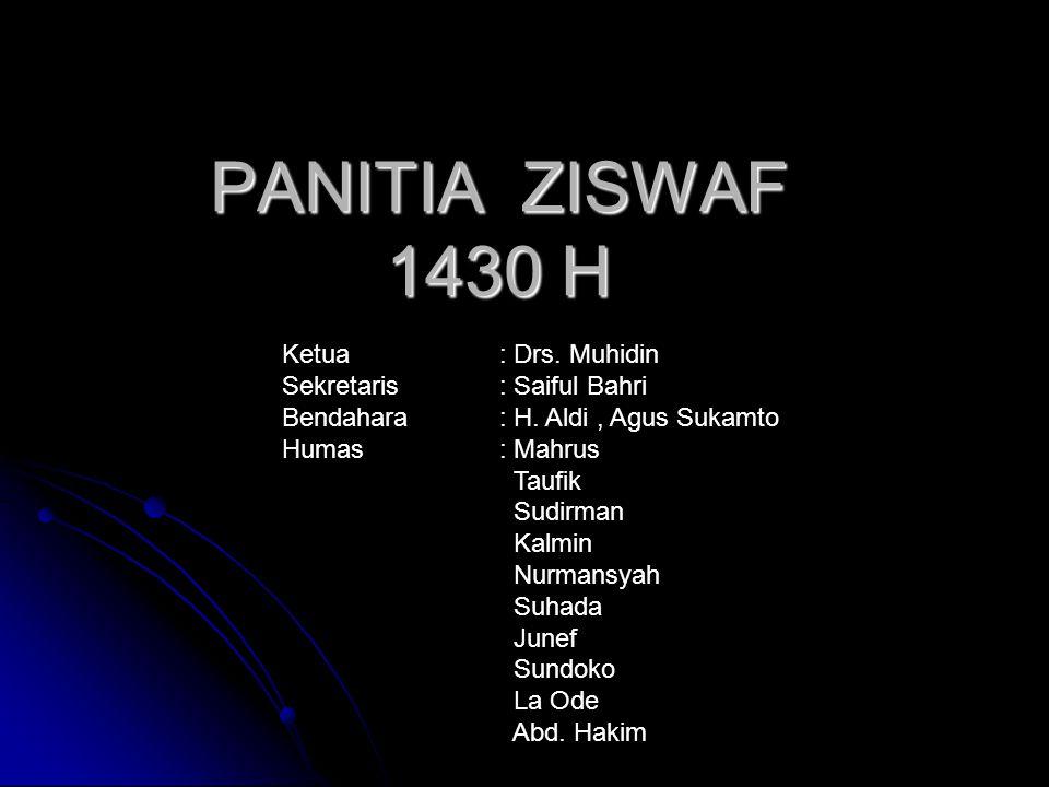 PANITIA ZISWAF 1430 H Ketua : Drs. Muhidin Sekretaris : Saiful Bahri Bendahara : H. Aldi, Agus Sukamto Humas : Mahrus Taufik Sudirman Kalmin Nurmansya