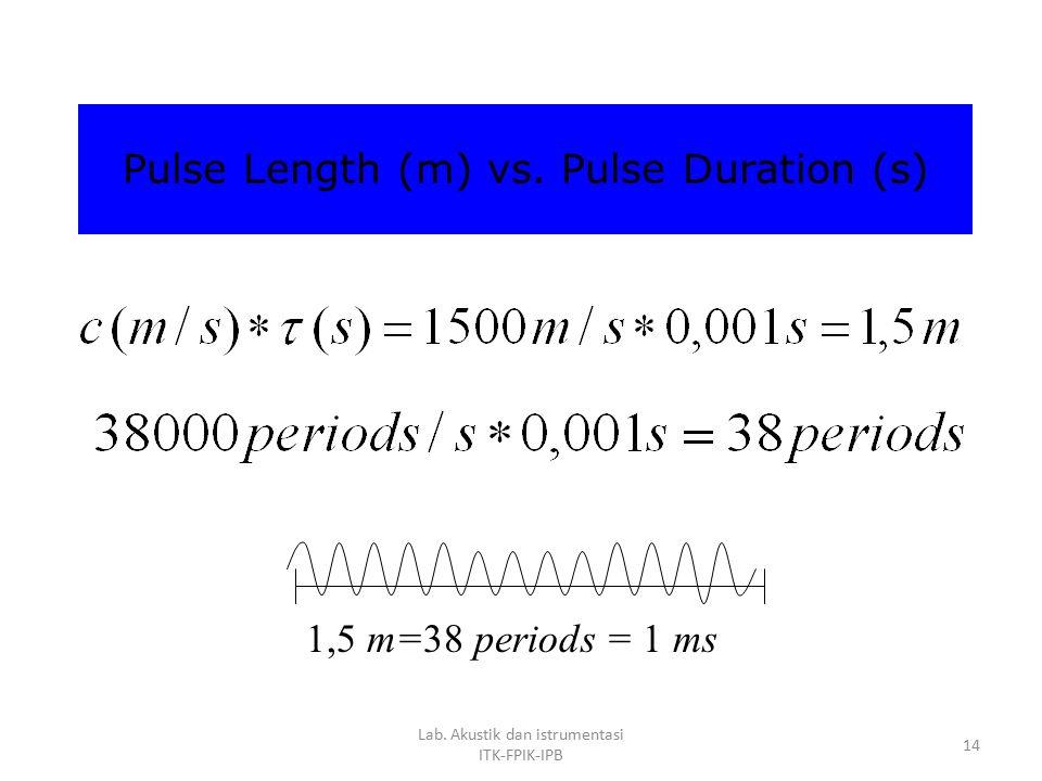 Lab. Akustik dan istrumentasi ITK-FPIK-IPB 13 Dalam prakteknya, digunakan Sound pulse (ping) = lama pulsa (pulse duration) n = jumlah periode dalam sa