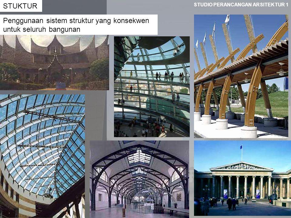 STUDIO PERANCANGAN ARSITEKTUR 1 STUKTUR Penggunaan sistem struktur yang konsekwen untuk seluruh bangunan