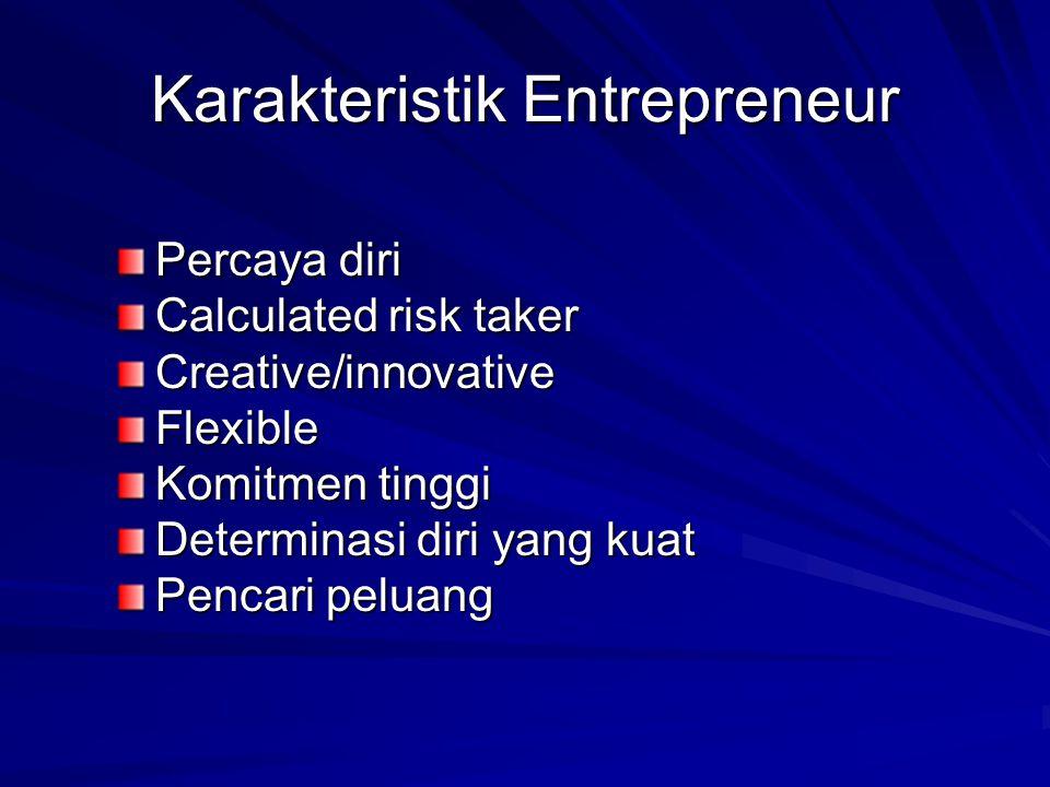 Karakteristik Entrepreneur Percaya diri Calculated risk taker Creative/innovativeFlexible Komitmen tinggi Determinasi diri yang kuat Pencari peluang