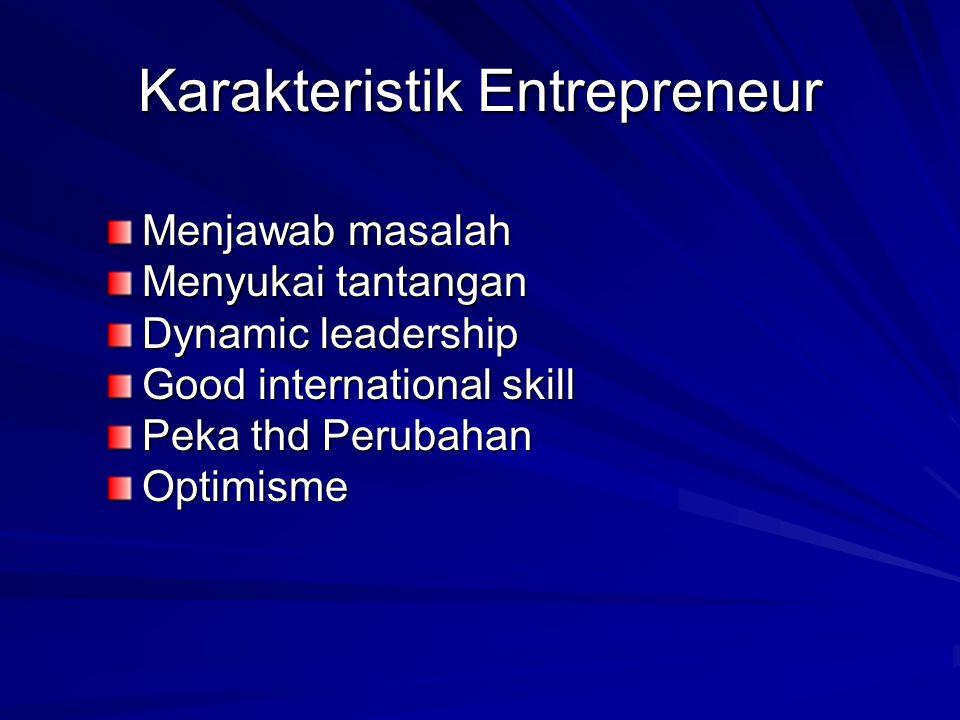 Karakteristik Entrepreneur Menjawab masalah Menyukai tantangan Dynamic leadership Good international skill Peka thd Perubahan Optimisme