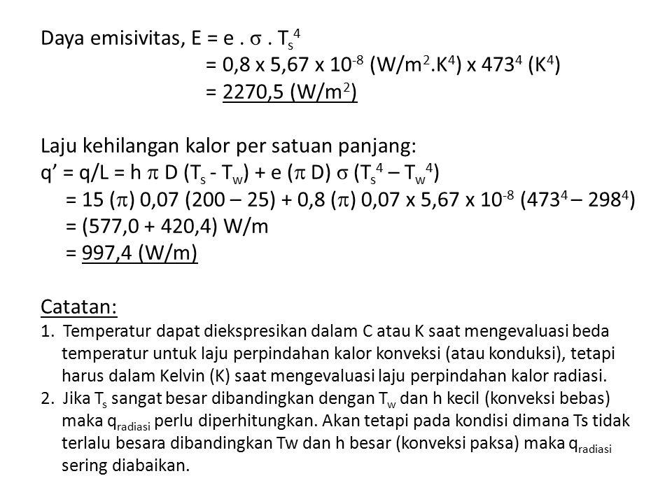Daya emisivitas, E = e. σ. T s 4 = 0,8 x 5,67 x 10 -8 (W/m 2.K 4 ) x 473 4 (K 4 ) = 2270,5 (W/m 2 ) Laju kehilangan kalor per satuan panjang: q' = q/L